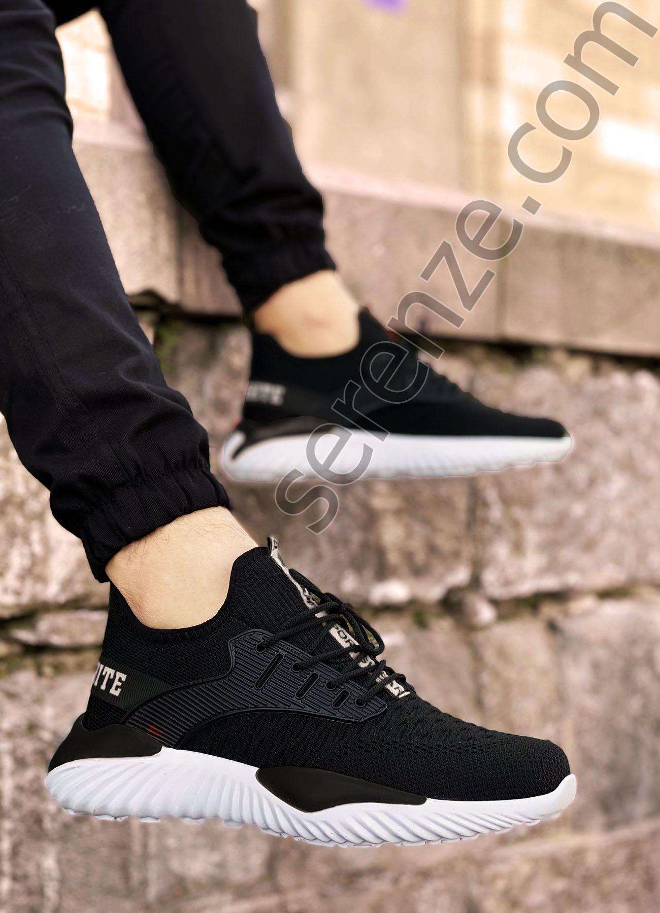 Siyah Beyaz Triko Erkek Spor Ayakkabı