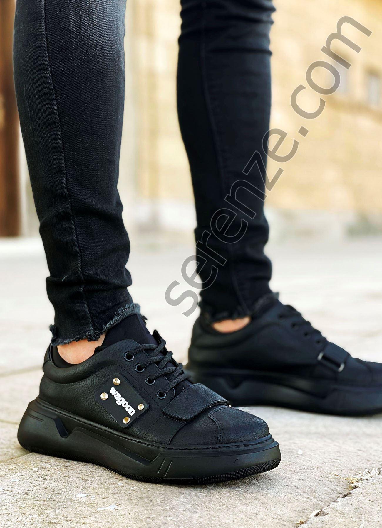 Siyah Cırtlı Erkek Spor Ayakkabı
