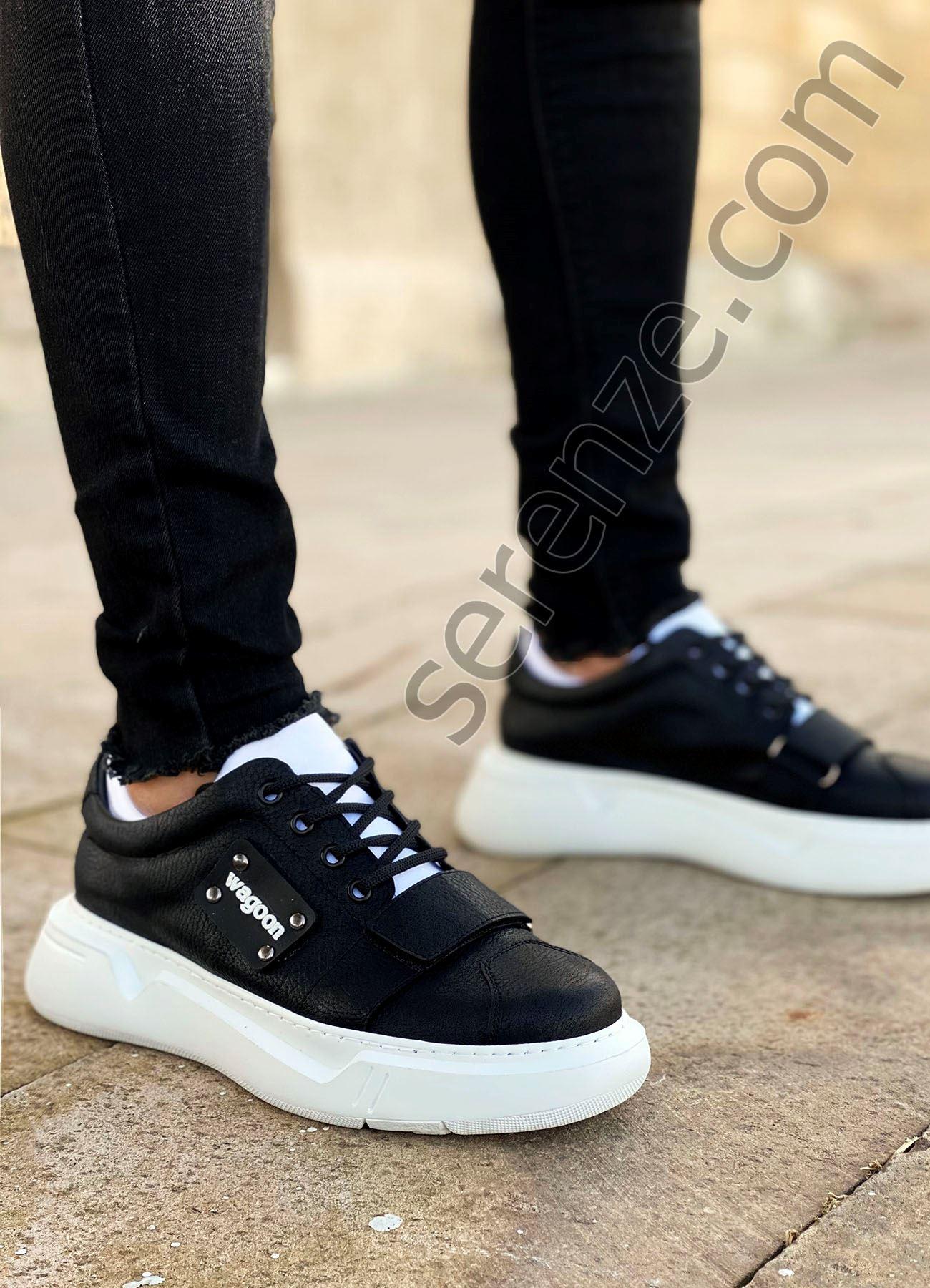 Siyah Beyaz Cırtlı Erkek Spor Ayakkabı
