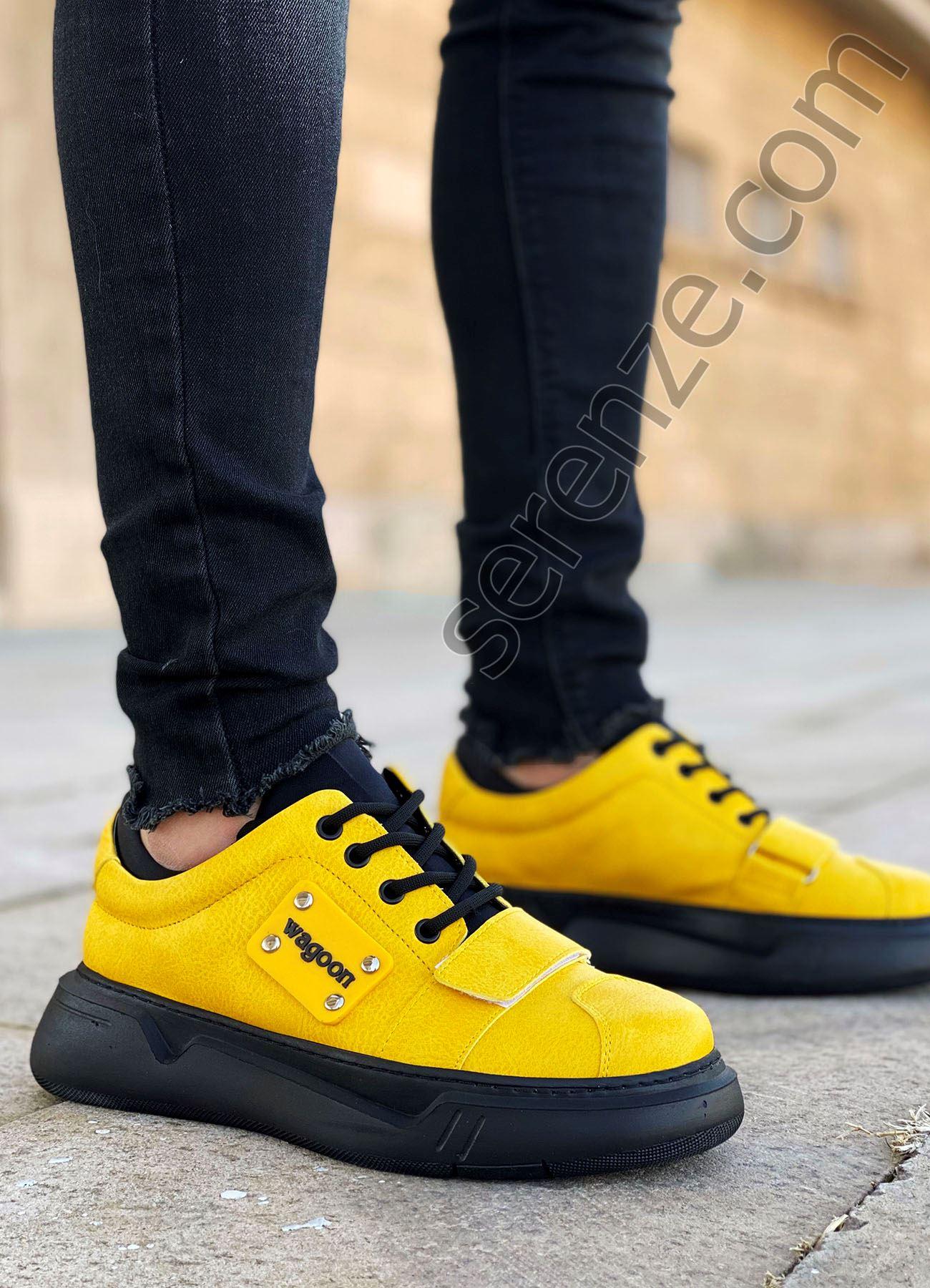 Sarı Cırtlı Erkek Spor Ayakkabı