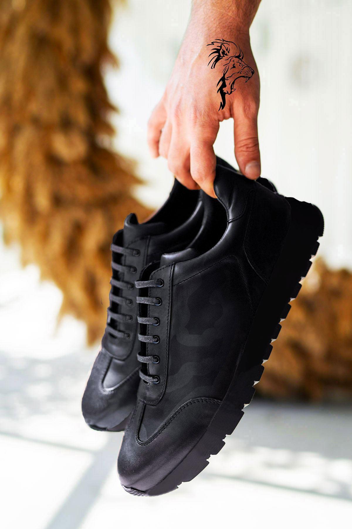 Siyah Kamuflaj Hakiki Deri Erkek Spor Ayakkabı