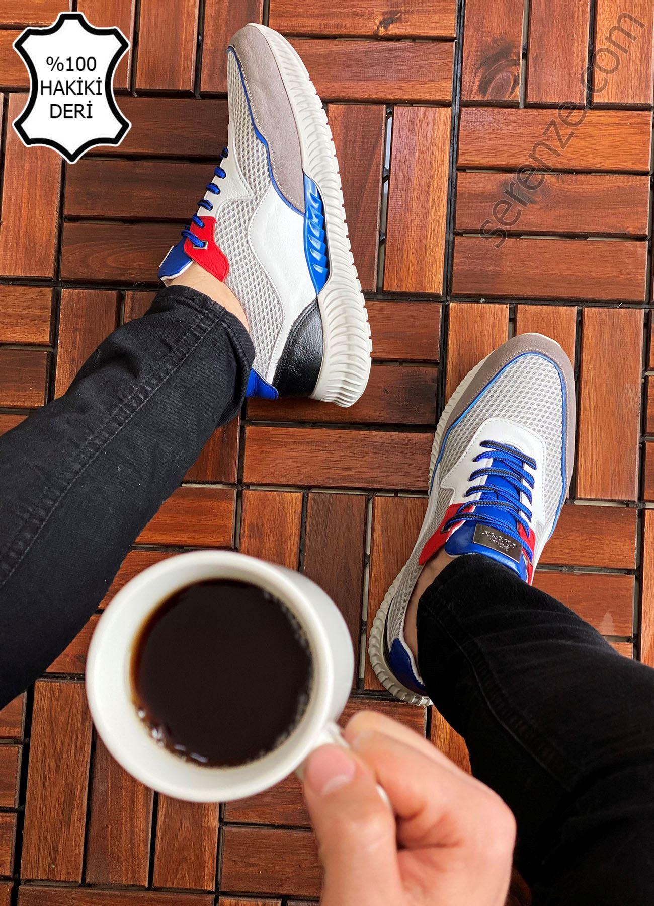 Beyaz Mavi Hakiki Deri Erkek Spor Ayakkabı