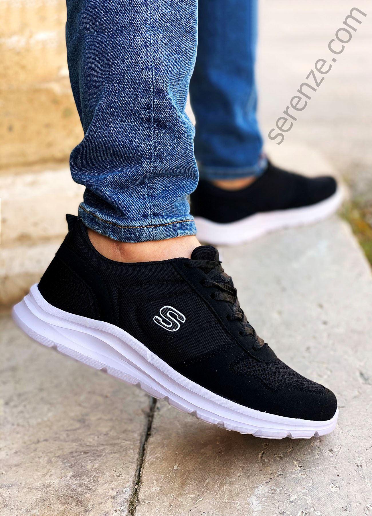 Siyah Beyaz File Erkek Triko Spor Ayakkabı