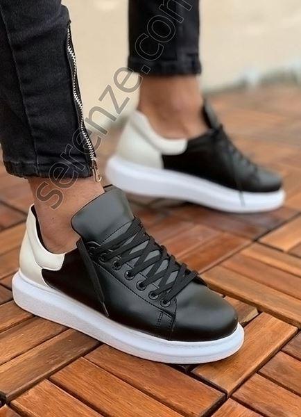 Beyaz Detay Siyah Erkek Spor Ayakkabı