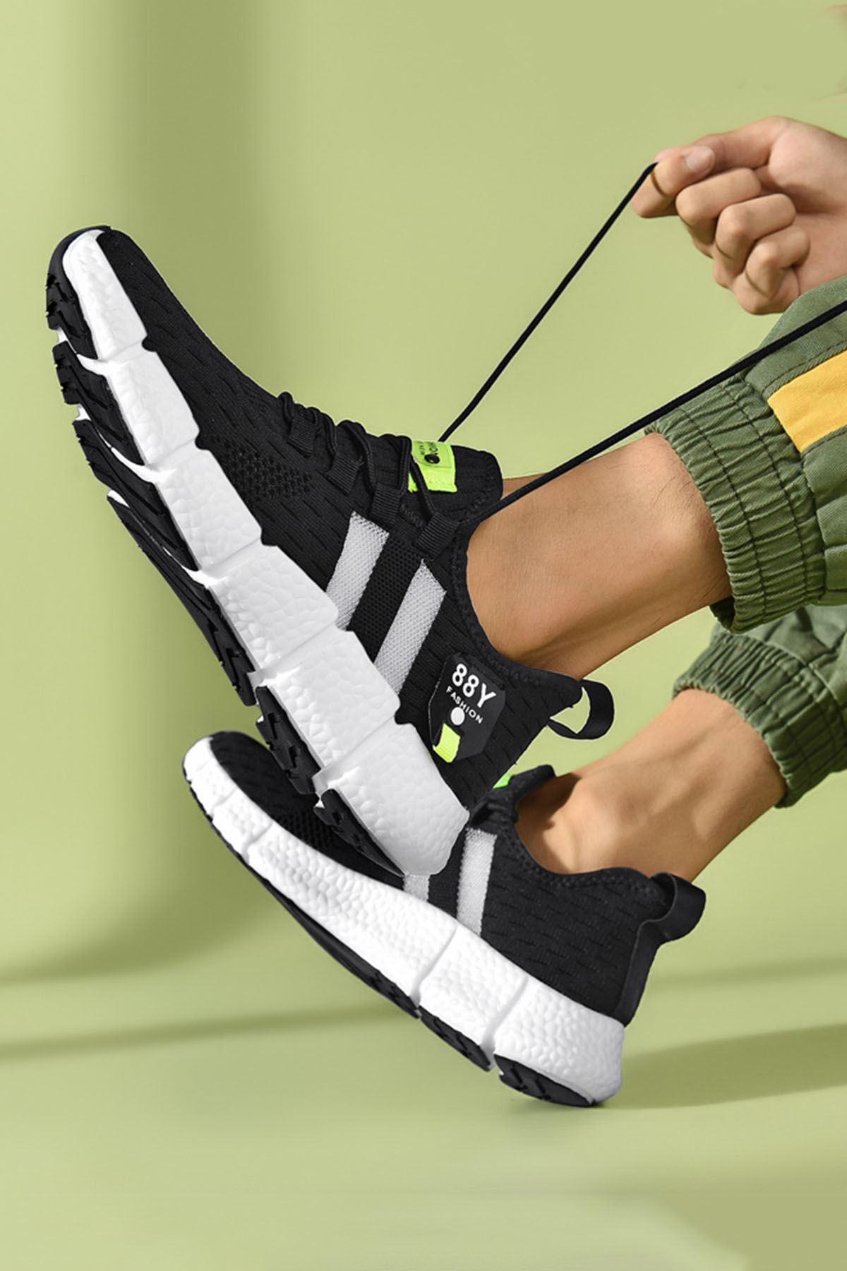 Siyah Beyaz Çizgi Detay Erkek Triko Spor Ayakkabı