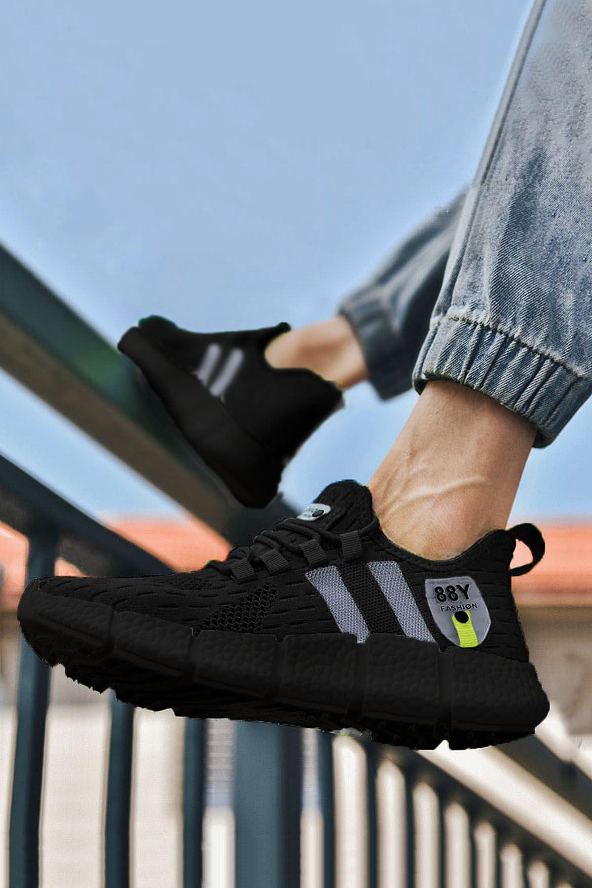 Siyah Çizgi Detay Erkek Triko Spor Ayakkabı