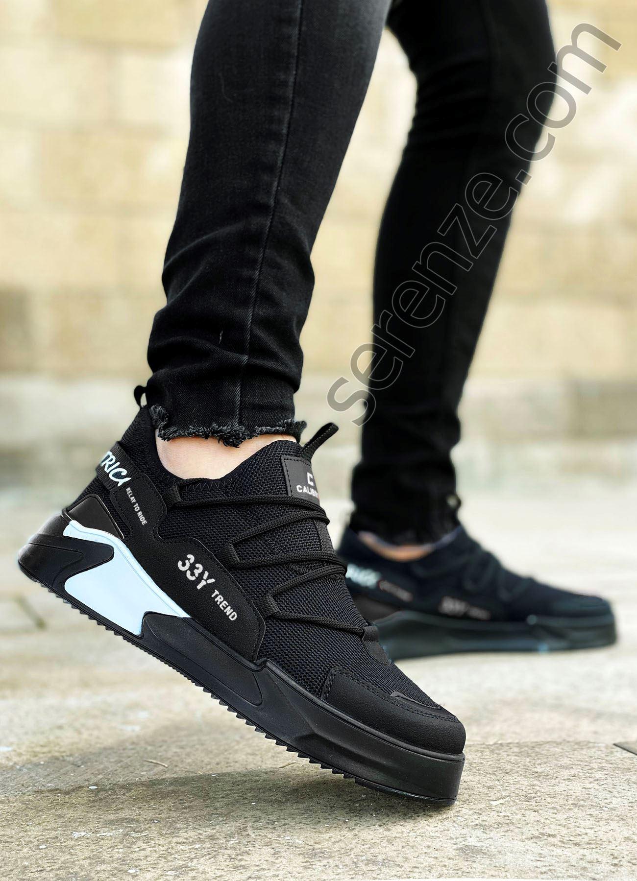 Siyah Siyah Triko Erkek Spor Ayakkabı