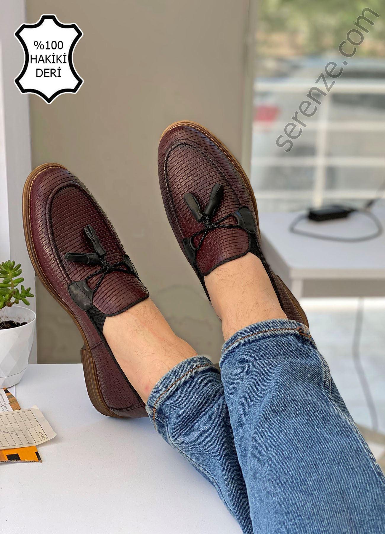 Bordo Desenli Hakiki Deri Püsküllü Erkek Klasik Ayakkabı