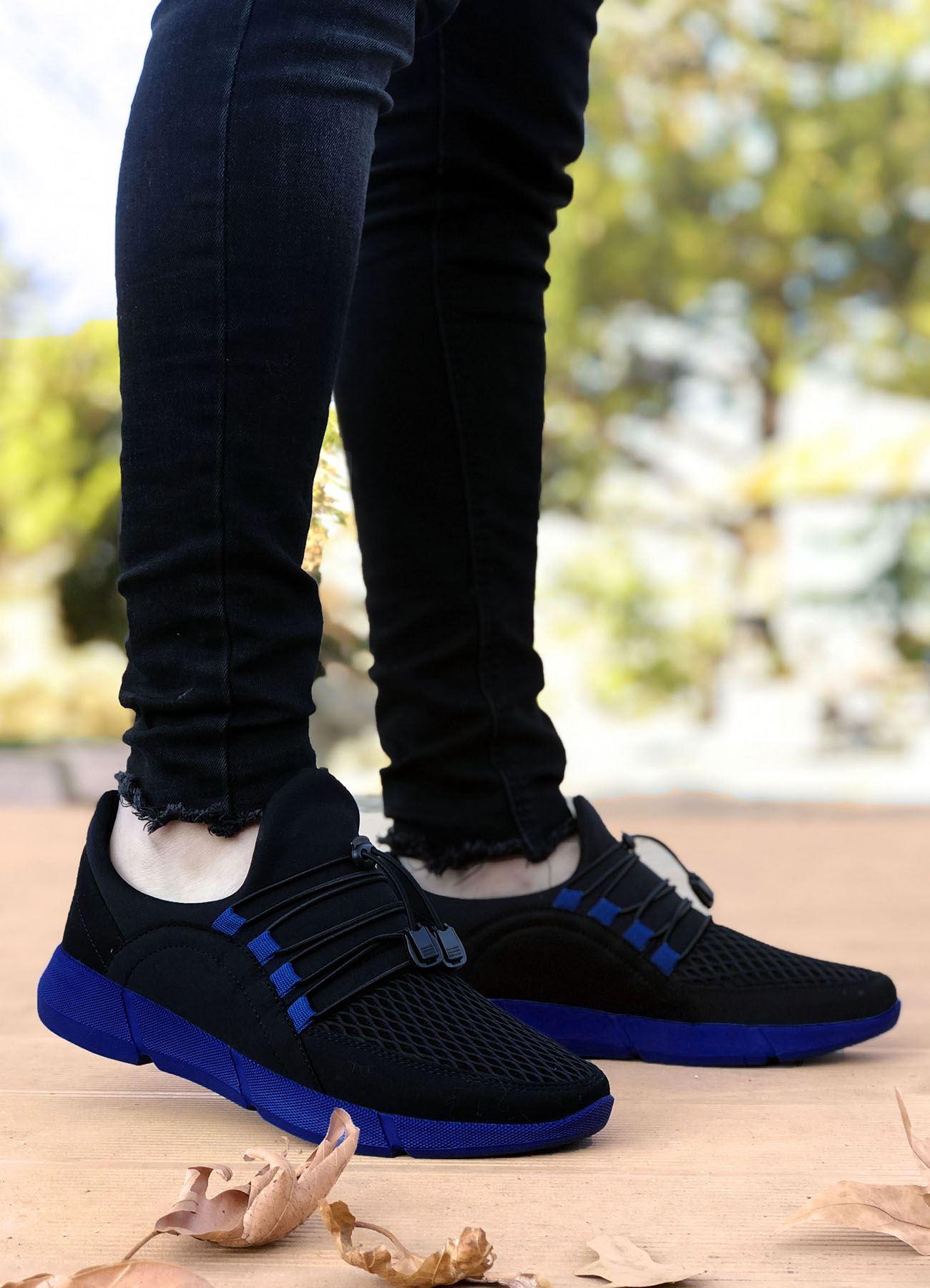 Siyah Mavi Triko Hafif Erkek Spor Ayakkabı