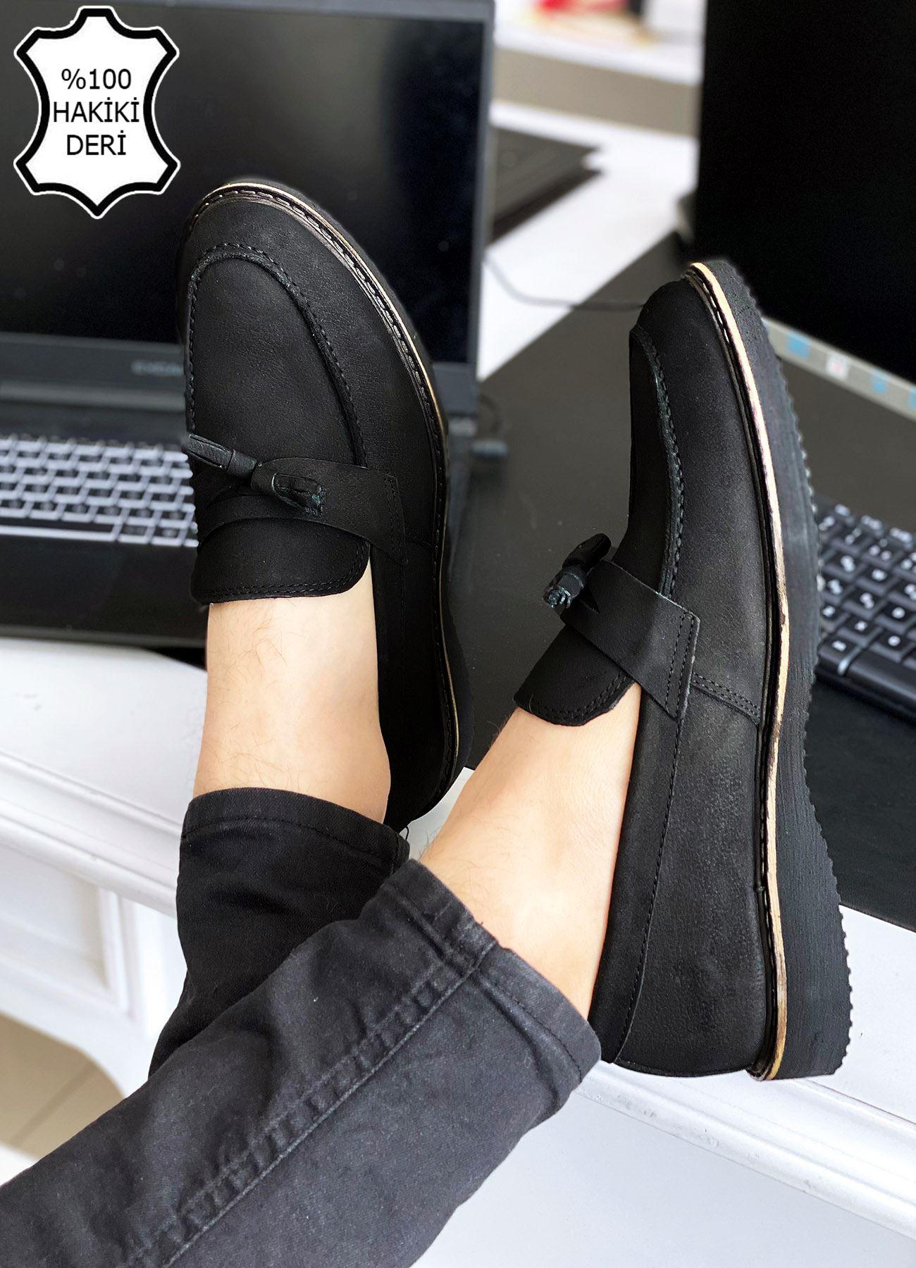 Siyah Nubuk Hakiki Deri Püsküllü Erkek Klasik Ayakkabı