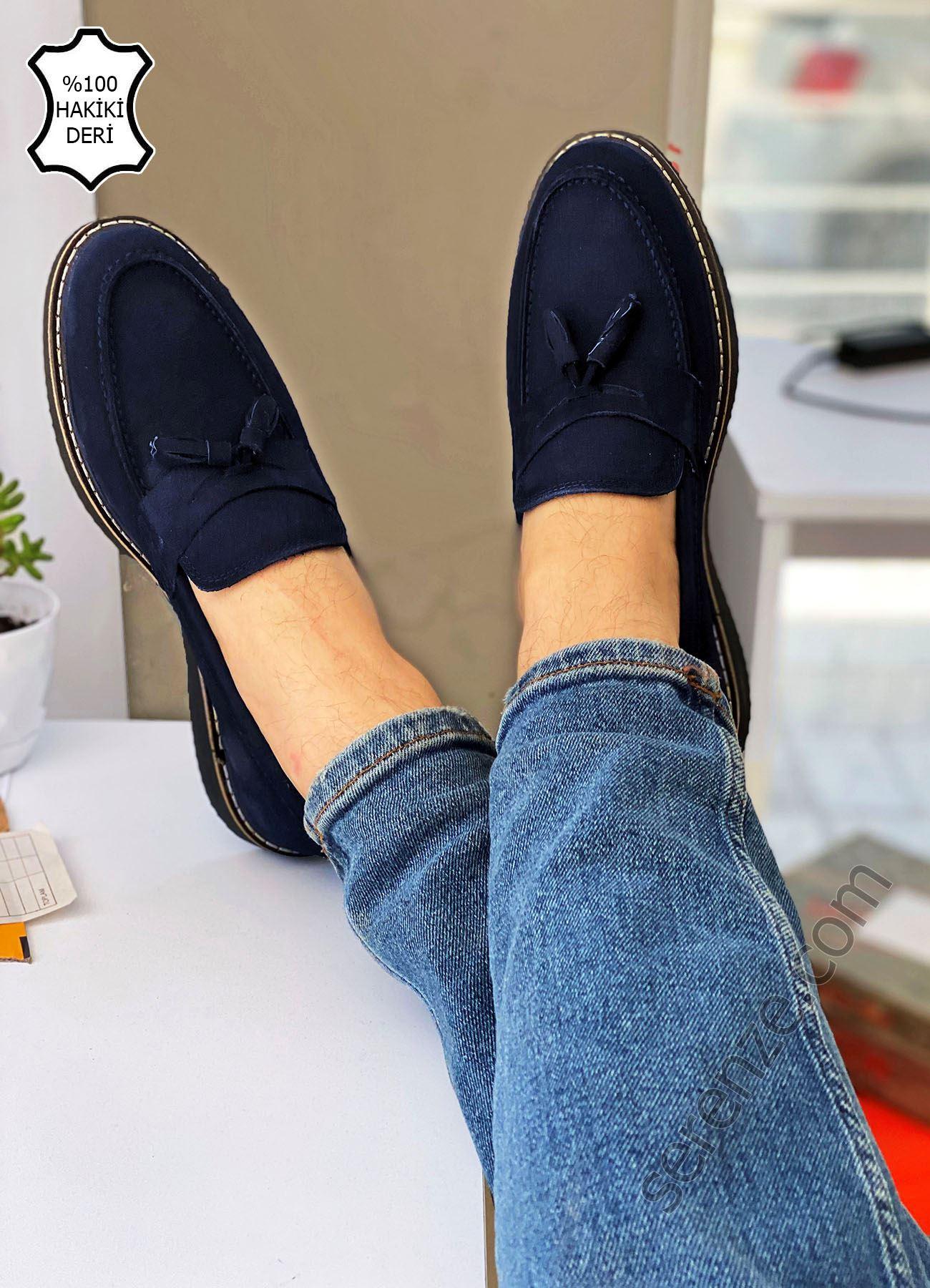 Lacivert Nubuk Hakiki Deri Püsküllü Erkek Klasik Ayakkabı