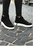 Bot model Yüksek Taban Siyah Beyaz Erkek Ayakkabı
