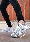 Siyah Beyaz Gazete Baskı Tasarım Erkek Spor Ayakkabı