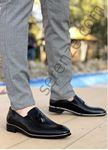 Siyah Desenli Rugan Gümüş Detay Erkek Klasik Ayakkabı