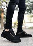 Siyah Kancalı Hakiki İç Dış Deri Erkek Trekking Ayakkabı