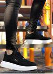 Siyah Süet Yüksek Taban Erkek Spor Ayakkabı