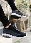 Siyah Beyaz Çizgi Desen Erkek Basketbol Ayakkabısı