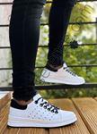 Beyaz Hakiki Deri Tasarım Erkek Spor Ayakkabı