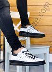 Beyaz Taban Siyah Hakiki Deri Delikli Erkek Spor Ayakkabı