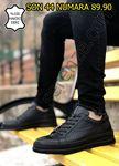 Siyah Hakiki Deri Delik Tasarım Erkek Spor Ayakkabı