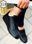 Siyah Lastikli Hakiki Deri Erkek Ayakkabı