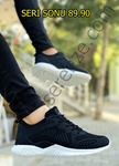 Siyah Beyaz Triko Rahat Erkek Spor Ayakkabı