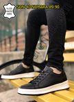 Siyah-Beyaz Hakiki Deri Delik Tasarım Erkek Spor Ayakkabı