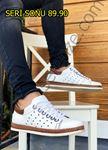 Beyaz Hakiki Deri Hasır Taban Erkek Klasik Ayakkabı