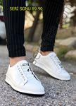 Beyaz Hakiki Deri Lastikli Erkek Spor Ayakkabı