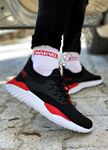Siyah Kırmızı Triko Erkek Spor Ayakkabı
