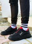 Siyah Kırmızı Cırtlı Erkek Spor Ayakkabı