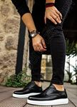 Klasik Model Deri Tarz Bağcıklı Siyah Beyaz Erkek Ayakkabı